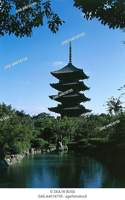 Five-story pagoda of To-ji Buddhist Temple (Kyo-o-Gokoku-ji), Kyoto, Kansai, Japan, 9th century