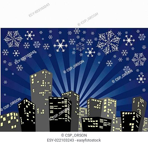 Silhouette of the christmas city