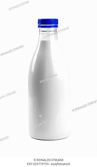 blank milk bottle isolated on white background