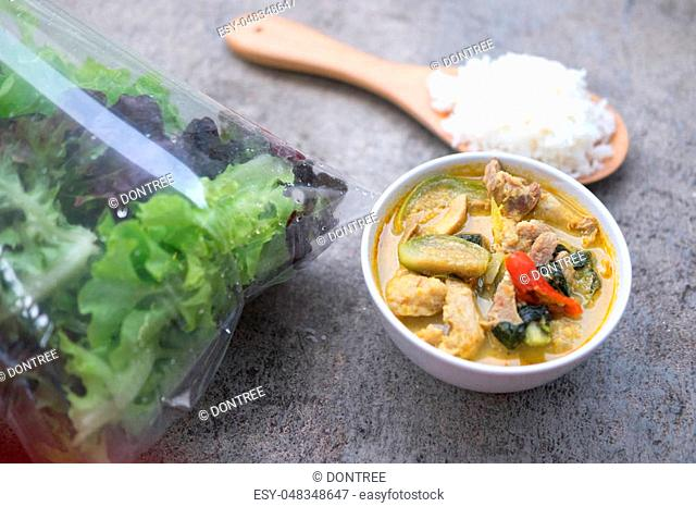 Green curry creamy coconut milk with chicken,the popular Thai food call Keang Keow Wan Kai