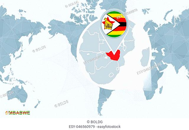 World map centered on America with magnified Zimbabwe. Blue flag and map of Zimbabwe. Abstract vector illustration