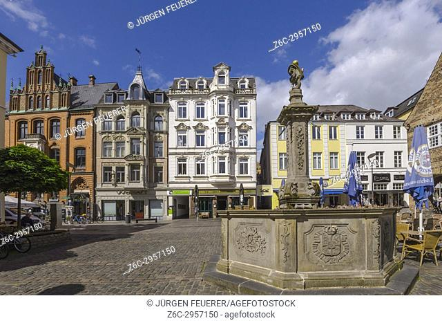 Nordermarkt square and the old brick building of the trade house Hansen in Flensburg, coastal town at the Baltic Sea, Germany