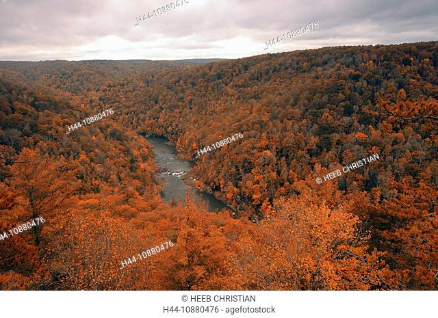 East Rim Overlook, River, Fall, colours, colors, Big South Fork National River & Recreation Area, Tennessee, USA