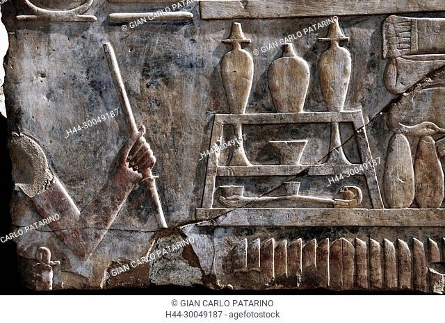 Karnak, Luxor, Egypt. Temple of Karnak sacred to god Amon: various types of vessels