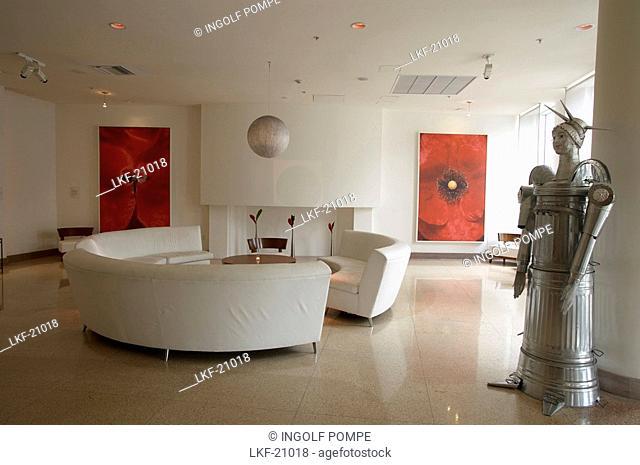 Entrance and waiting area of an Art Deco hotel, South Beach, Miami, Florida, USA
