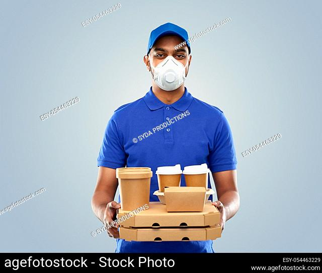 delivery man in respirator mask with takeout food