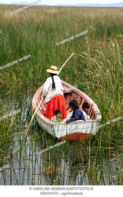 Boat near Uros Islands, Lake Titicaca