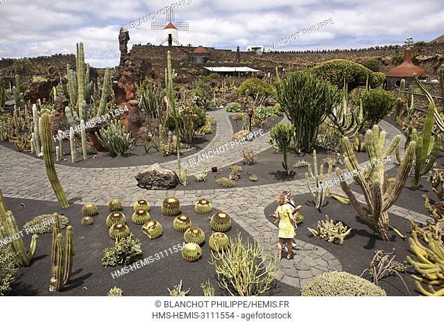 Spain, Canary Islands, Lanzarote, Guatiza, Cactus garden designed by Cesar Manrique