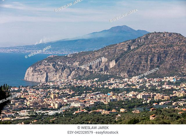 Sorrento. Italy. Aerial view of Sorrento and the Bay of Naples