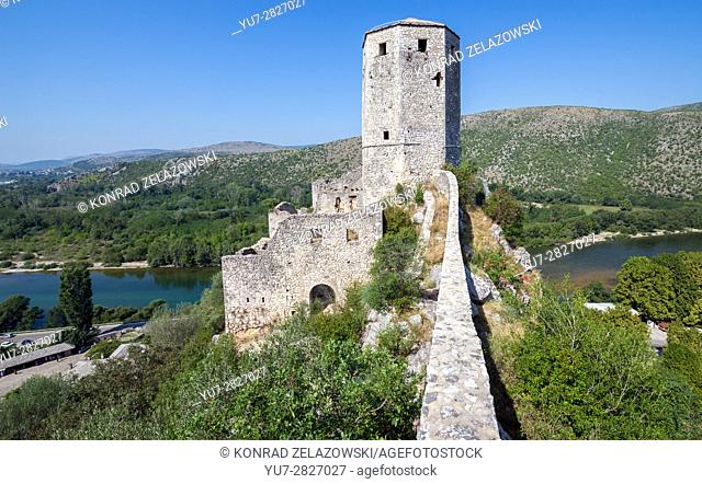 medieval citadel built by King Tvrtko I of Bosnia in 1383 in Pocitelj village over Neretva river, Bosnia and Herzegovina
