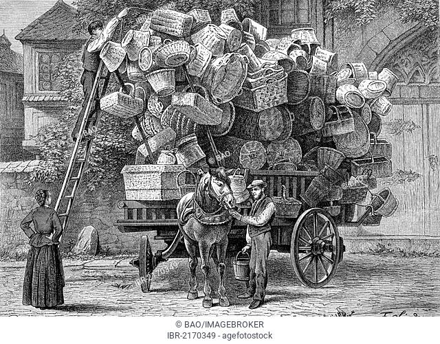 Rhineland trader's wagon, basket trader, historical engraving, 1883