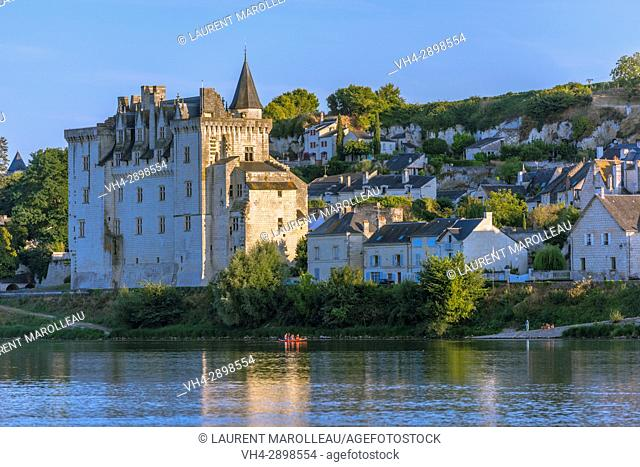 Castle of Montsoreau at the confluence of the Loire and Vienne rivers. Montsoreau (Labeled The Most Beautiful Villages of France), Maine-et-Loire