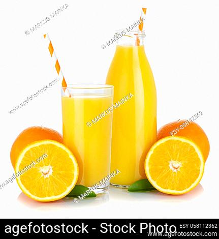 Fresh orange fruit juice drink smoothie oranges glass and bottle isolated on a white background