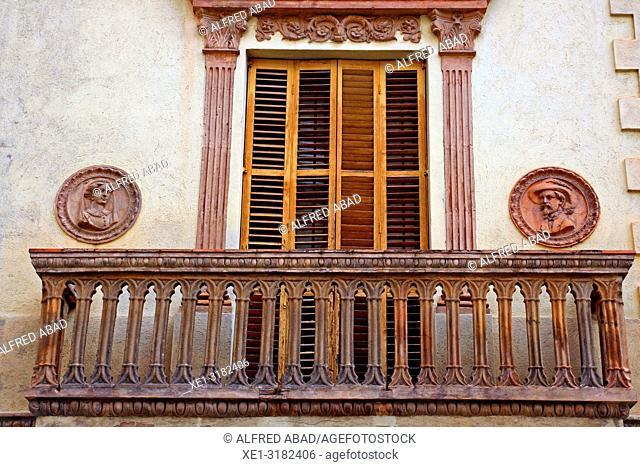 balcony, Enric Pi houses, 1907, architect Juli Batllevell, Sant Cugat del Valles, Catalonia, Spain
