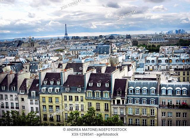 Paris France Cityscape with the Eiffel tower in the distance