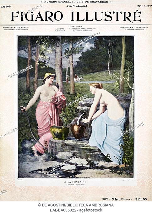 At the fountain, by Pierre Puvis de Chavannes, cover of Figaro illustre, Year XVII, No 107, February, 1899