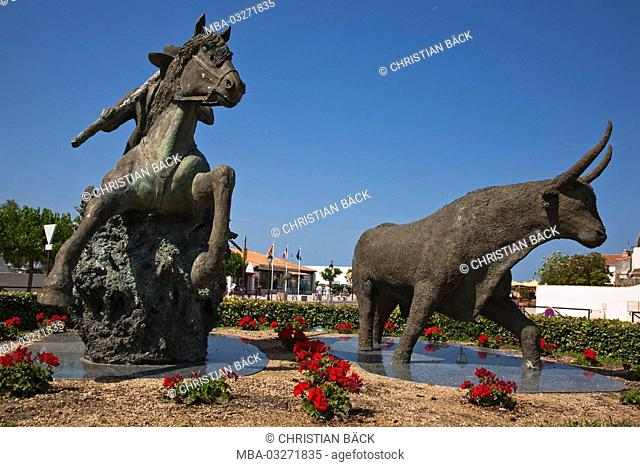 Sculpture in Saintes-Maries-de-la-Mer, Provence-Alpes-Cote, Camargue, Provence, France