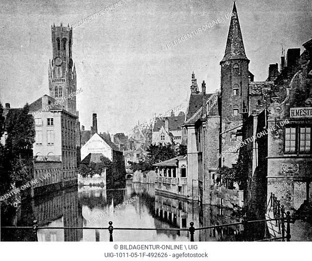 One of the first autotype photographs of bruges, belgium, circa 1880