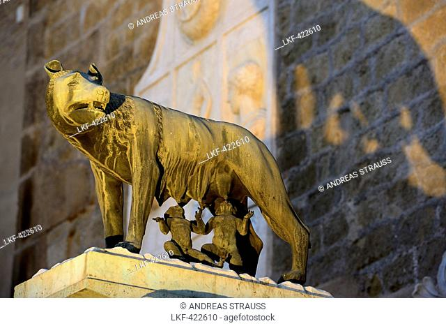 Capitoline Wolf., Wolf suckling Romulus and Remus, statue in front of Capitol, Capitoline hill, UNESCO World Heritage Site Rome, Rome, Latium, Lazio, Italy