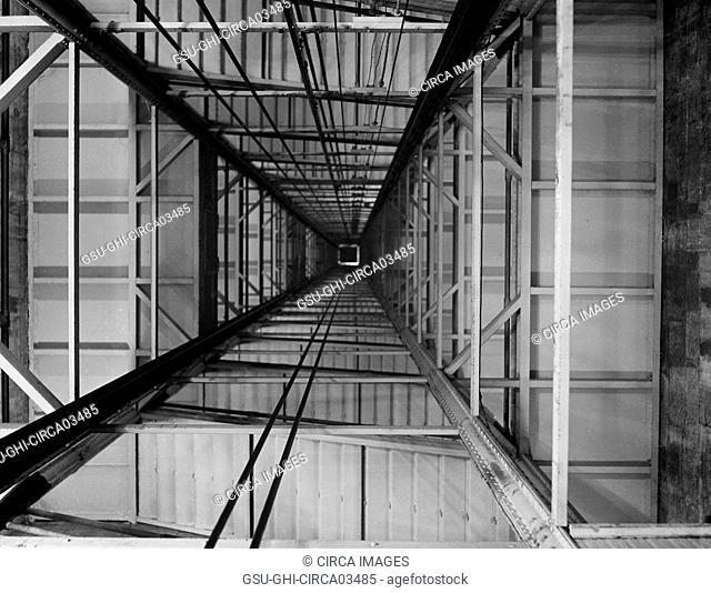 Elevator Shaft, Low Angle View, Washington Monument, Washington DC, USA, Harris & Ewing, 1922