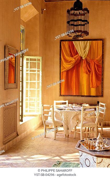 Dinner room, Marrakech, Morocco, Africa