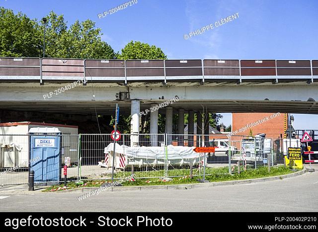 Repair work / renovation done at Mariakerkebrug, 60s bridge in the village Mariakerke near Ghent, East Flanders, Belgium