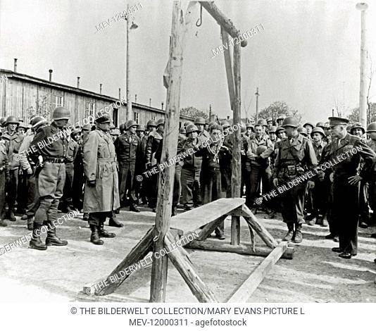 Ohrdruf Concentration Camp - General George S. Patton (1885 - 1945, left), General Omar Bradley (1893 - 1981, second from left) and General Dwight D