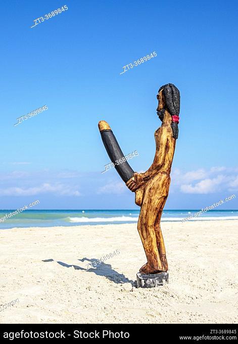 Sculpture at Seven Mile Beach, Long Bay, Negril, Westmoreland Parish, Jamaica
