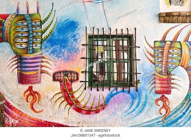 Colombia, Bogota, La Candelaria, Plazoleta de Chorro Quevedo, Graffiti on building