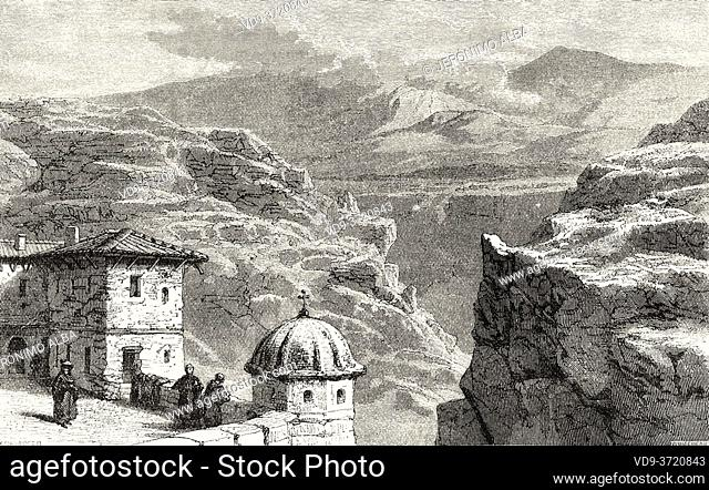 Greek Orthodox Monastery of Mar Saba in Judean Desert, Israel. Old 19th century engraved illustration Travel to Jerusalem by Alphonse de Lamartine from El Mundo...