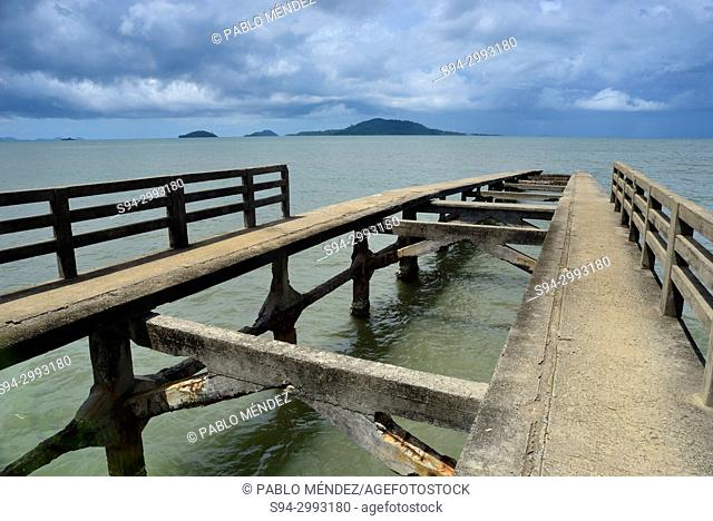 Pier in Kep beach, Cambodia