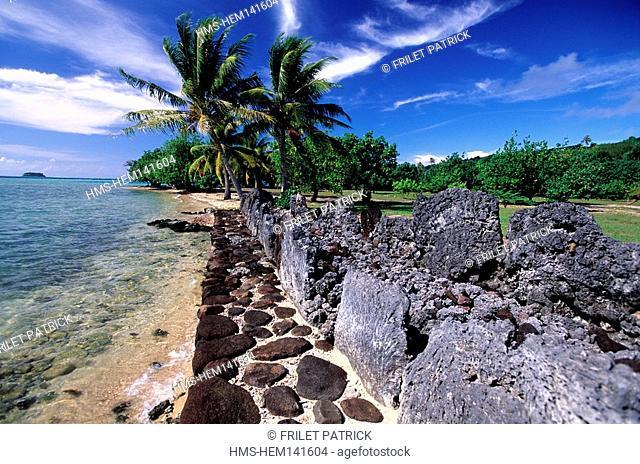 France, French Polynesia, Society islands, island of Raiatea, Marae Taputaputatea ancient funeral site