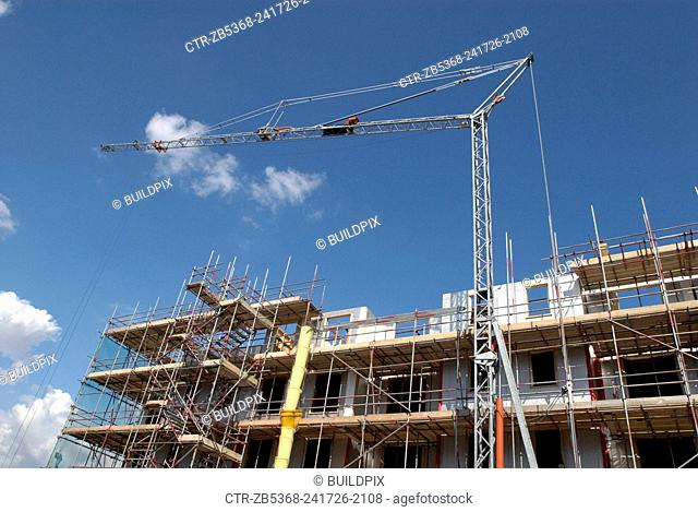 Un-manned self Erecting and remote controlled Crane on a construction site, Ipswich, UK