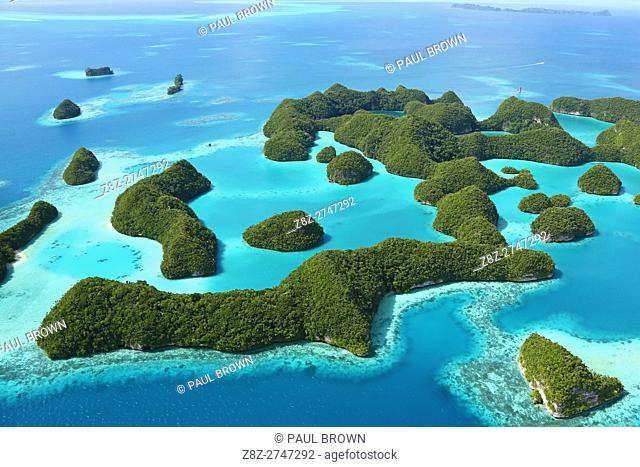 Aerial view of the archipelago of Seventy Islands, Republic of Palau, Micronesia, Pacific Ocean