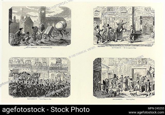 """September – """"""""Michaelmas Day"""""""" from George Cruikshank's Steel Etchings to The Comic Almanacks: 1835-1853 (top left) - 1836, printed c"""