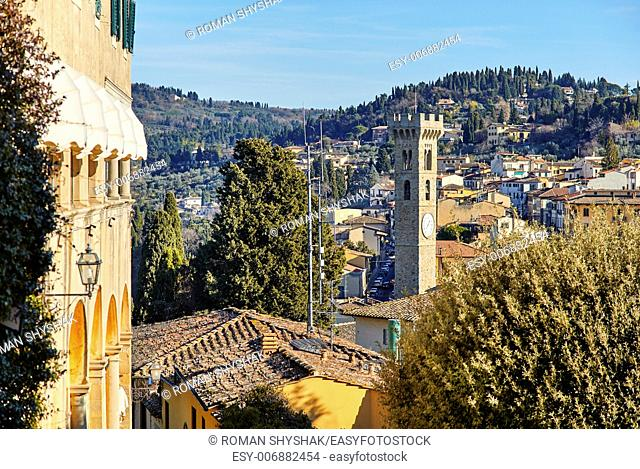 Fiesole near Florence, Tuscany Italy. An ancient Etruscan village that overlooks Florence