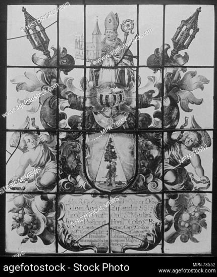 Ecclesiastical armorial panel. Date: 1710; Culture: Flemish, possibly Leuven; Medium: Glass-stained; Dimensions: 34 1/2 x 28 1/2 in. (87.6 x 72