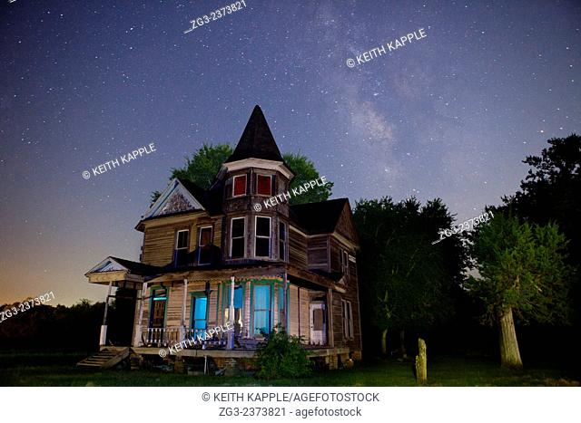 Abandoned Victorian Era Home under the Milky Way in Kosse Texas