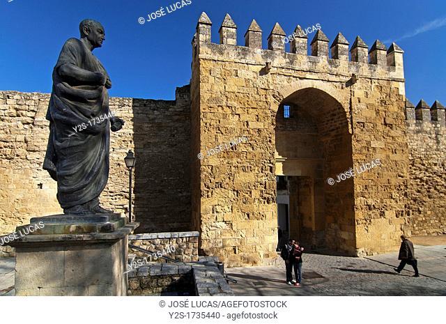 Almodovar door-walls and sculpture of Seneca, Cordoba, Spain
