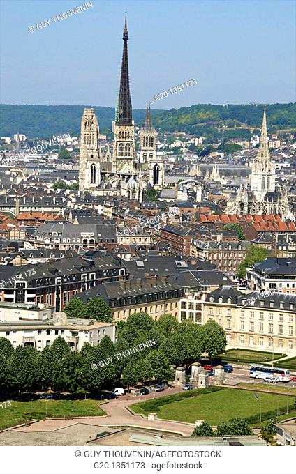 Panorama Notre Dame Cathedral and town seen from Saint Catherine Mountain ROUEN Normandy 76 France