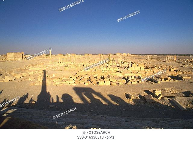 Shadows of the site of Palmyra, Syria, High Angle View