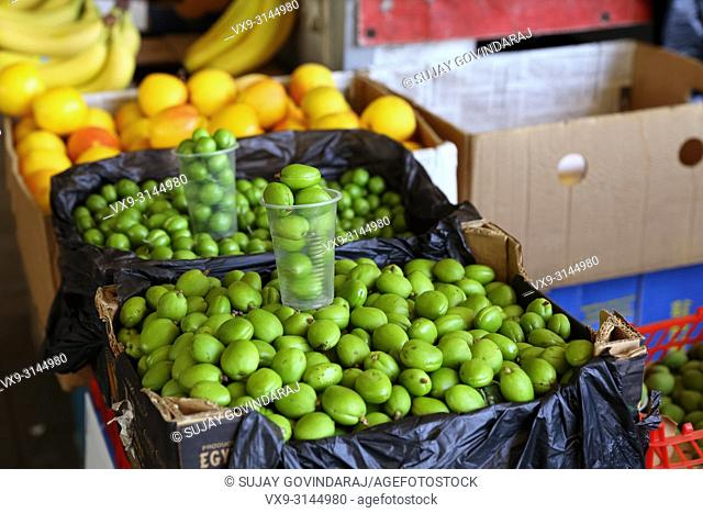 Green apricots, a kind of fruit popular in Uzbekistan and other parts of Central Asia