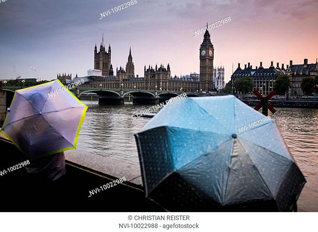 Westminster Bridge, Big Ben and Palace of Westminster in rainy weather, London, United Kingdom