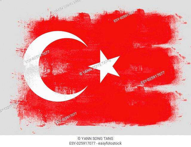 Flag of Turkey painted with brush on solid background