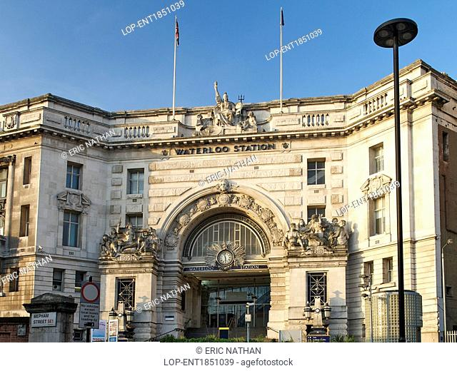 England, London, Waterloo. Entrance and exterior facade of Waterloo station