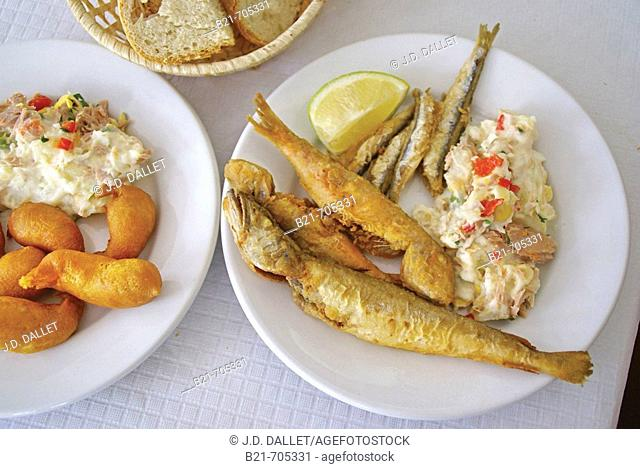 Spain-Malaga-Andalusia-   'Gambas en Gabardina'(dyp fried shrimps) and 'Fritura Malagueña' -'boquerones'-'bacaladilla'-'salmonetes' ( fried fishes Malaga style)...