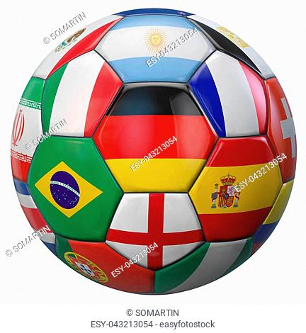 Germany football with world national teams flags. Clipping path included for easy selection. 3D illustration