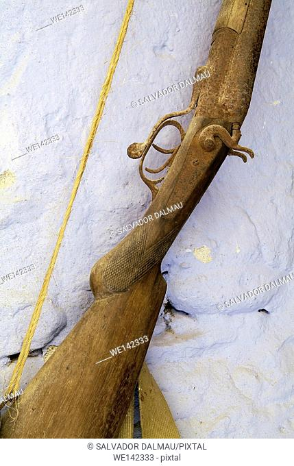 detail ancient weapon,old shotgun,wooden weapon,location girona,catalonia,spain,europe,