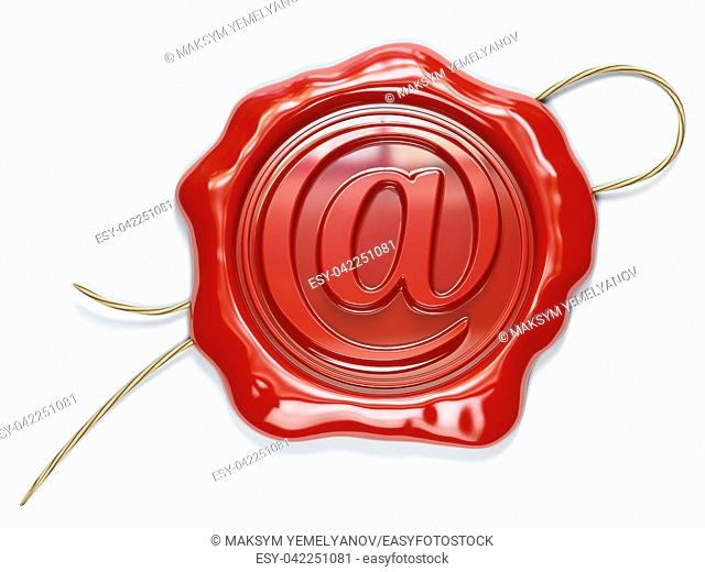 E-mail sign sealing wax stamp isolated on white background. 3d illustration