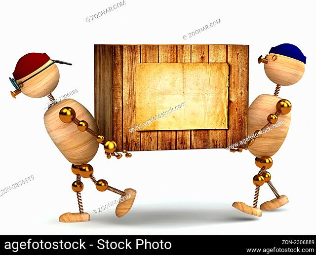 two 3d wood man carring big wooden box isolated on white